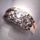 Antique Diamond Wedding Ring Set 18K Vintage Art Deco