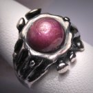 Antique Vintage Star Ruby Ring Modernist Silver MidCent