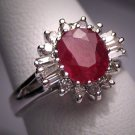 Antique Ruby Diamond Wedding Ring Vintage W.G. Art Deco