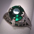 Antique Art Deco Green Garnet Wedding Ring Vintage Band