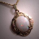 Antique Opal Pendant Necklace Victorian Deco Vintage