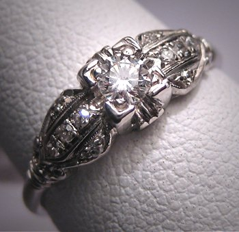 Antique Diamond Wedding Ring Vintage Platinum Art Deco