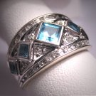 Vintage Diamond Blue Topaz Wedding Ring Band White Gold