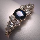 Antique Vintage Sapphire Diamond Wedding Ring Band 14K