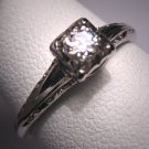 Antique Diamond Wedding Ring Vintage 18K Art Deco Jabel