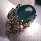 Vintage Australian Jade Ring Retro Deco Silver Setting