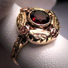 Antique Garnet Ring Vintage Victorian Deco Rose Gold
