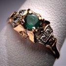 Antique Emerald Diamond Wedding Ring Vintage Art Deco 6
