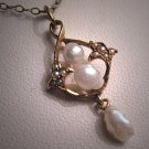 Antique Pearl Pendant Necklace Vintage Victorian Gold