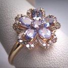 Vintage Tanzanite Antique Diamond Wedding Ring 14K Gold