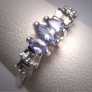 Vintage Tanzanite Ring White Gold Retro Art Deco Wedding Band W. Gold