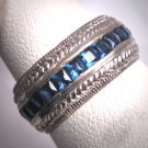 Antique Sapphire Wedding Ring Band Eternity Vintage Art Deco 1930