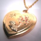 Antique Rose Gold Floral Locket Heart Pendant Green Yellow Gold Flower