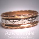 Antique Heart Floral Wedding Ring Band Eternity Art Deco 1930 14K 6.5