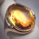 Antique Citrine Wedding Ring Vintage Art Deco White Green Gold 1920