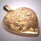 Antique Gold Heart Locket Vintage Victorian Necklace Art Deco Engraved