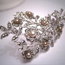 Antique French Art Deco Brooch Rose Cut Pearl Floral Bow 1920 Wedding