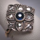 Antique Victorian Sapphire Rose Diamond Wedding Ring French c.1840