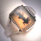 Antique Moss Agate Ring Vintage Victorian Band Silver c.1900 Wedding