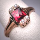 Antique Victorian Garnet Pearl Ring Wedding Vintage 19th Century Gold