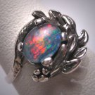 Antique Australian Opal Ring Vintage Retro Art Deco Wedding Estate