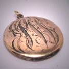 Antique Gold Locket Vintage Victorian Art Nouveau Fob Pendant Initials