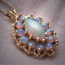Vintage Australian Opal Pendant Necklace Retro Art Deco 1950 Opals
