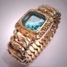 Antique Aquamarine Paste Bracelet Vintage Victorian Chased Art Deco