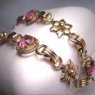 Antique Pink Sapphire Paste Bracelet Gold Floral Vintage Art Deco 1930