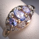 Vintage Tanzanite Diamond Wedding Ring Band Engagement Gemstone 14K