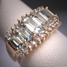 Vintage Aquamarine Diamond Wedding Ring Band 14K Gold Estate Retro