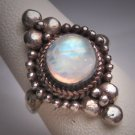 Vintage Moonstone Ring Antique Victorian Etruscan Rev. Motif Silver