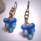 Vintage Victorian Art Nouveau Revival Guilloche Enamel Earrings Pearl