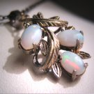 Antique Vintage Australian Opal Pendant Necklace Retro Art Deco 1950