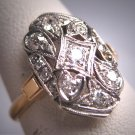 Antique Diamond Wedding Ring Band Vintage Art Deco 20s Engagement Euro