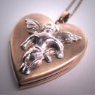 Antique Vintage Angel Locket Necklace Pendant Heart Cherub Retro