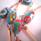 Antique Millefiori Beaded Necklace Vintage 1930-50's Italian Art Glass