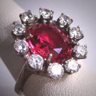 Antique Ruby Wedding Ring Vintage Art Deco Sterling Silver 1920's