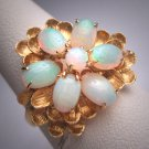 Antique Vintage Australian Opal Ring Gold Retro Art Deco Wedding 1950