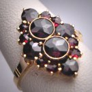Antique Victorian Bohemian Garnet Ring Vintage Rose Cuts c.1900 Euro