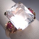 Antique White Topaz and Ruby Wedding Ring Vintage Art Deco 1930