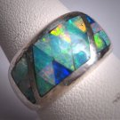 Vintage Australian Opal Ring Silver Wedding Band Fine