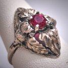 Antique Victorian Ruby Wedding Ring Silver Leaf Art Deco c.1900