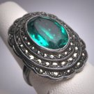 Antique Emerald Past and Rose Cut Ring Victorian Art Deco 1920