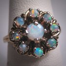 Antique Australian Opal Ring Victorian Art Deco Gold Gilt 1930 Wedding