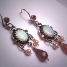 Vintage Victorian Australian Opal Tourmaline Pearl Dangle Earrings