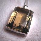 Antique Art Deco Smokey Quartz Sterling Silver Pendant Necklace Gem