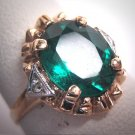 Antique Emerald Paste Diamond Wedding Ring Gold Vintage Art Deco 1930s