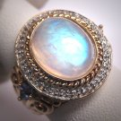 Vintage Victorian Style Moonstone Tanzanite Filigree Ring Wht Sapphire
