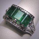 Antique Emerald Wedding Ring Art Deco Vintage Filigree 1930 Band
